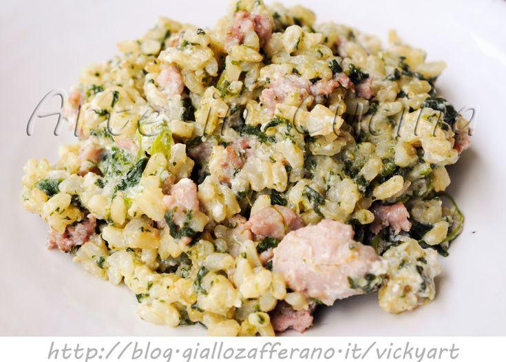 Riso con salsiccia e spinaci ricetta veloce, facile, prmo piatto saporito, riso cremoso con ricotta, idea pranzo veloce, cena, ricetta saporita, riso integrale