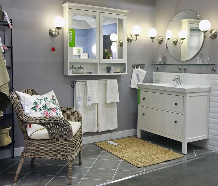 Bathroom Bathroom In Demand White Wooden Ikea Bathroom Vanities Storage Feat Wall Mount White Mirrored Cabinetry And Rustic Armchair On Diagonal Gray Porcelain Floors In Vintage Bathroom Furniture Ideas Tremen Reflect the beauty with the comely mirrored vanity
