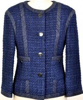 Rare Chanel 13p Fringed Tweed Classic Jacket Coat New 38 Beautifu