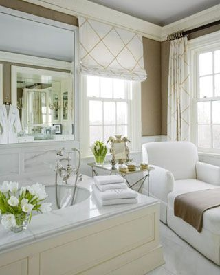 sigh...: Bathroom Design, Wall Colors, Chaise Lounges, Dreams Bathroom, Beautiful Bathroom, Window Treatments, White Bathroom, Master Bath, Windows Treatments
