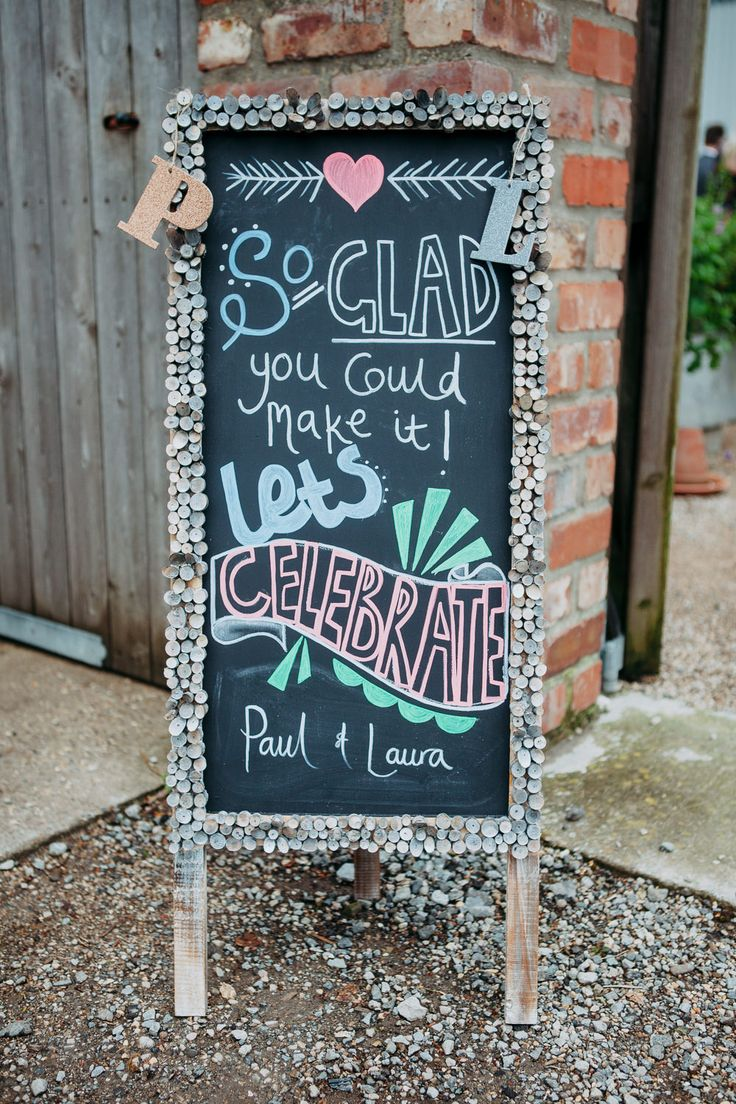 Chalkboard Blackboard Rustic Wedding Sign | Relaxed Outdoor ceremony at a  Yorkshire Brewery | Boho Bride | Bridesmaid Dresses from French Connection | Groom in Tailored Blue Tweed Suit | DIY decor | Image by Bloom Weddings | http://www.rockmywedding.co.uk/laura-paul/