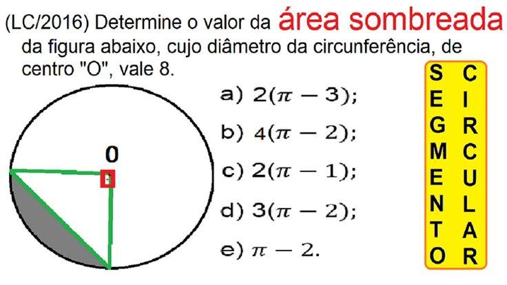 Curso de Matemática Cálculo da Área do segmento circular Geometria do cí... https://youtu.be/bdBt0qpNhG4