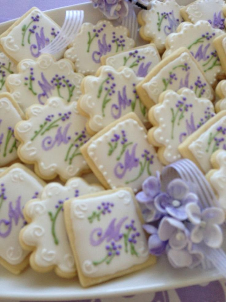 Lavender and green monogram  cookie set