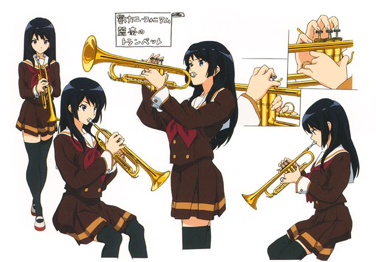 artbooksnat: Sound! Euphonium (響け!ユーフォニアム) Instrument focused character designs from Hibike! Euphonium, illustrated by Shoko Ikeda (池田晶子), to keep details like hand positioning and sizing consistent between animators. Diagrams featured in the latest issue of Animestyle Magazine (Amazon Japan | US). (wokyyから)