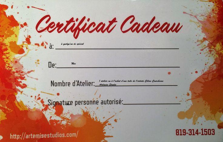 Certificat cadeau chez Artémise Studio de la boutique ARTEMISESTUDIO sur Etsy