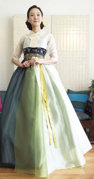 Hanbok - layered organza chima - smokey blue, soft green, decorative band Color…