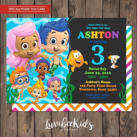 Bubble Guppies Invitation | Free Backside & Thank You Card [New Item] - LuvibeeKidsCo