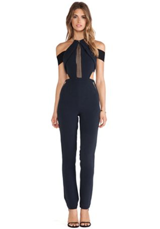 self-portrait Chained-Up Jumpsuit en Negro | REVOLVE