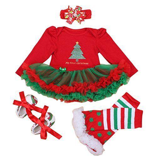 FEOYA - (set de 4)Vestido Ropa Traje de Navidad para Bebés Niñas Recién nacidos con Mangas Largas Christmas Venda de Pelo y Calcetines Zapatos para Fiesta Ceremonia - Navidad Rojo - Talla 1-24 meses, http://www.amazon.es/dp/B01KFLQ5RU/ref=cm_sw_r_pi_awdl_x_Oj3cybFNQDRQH