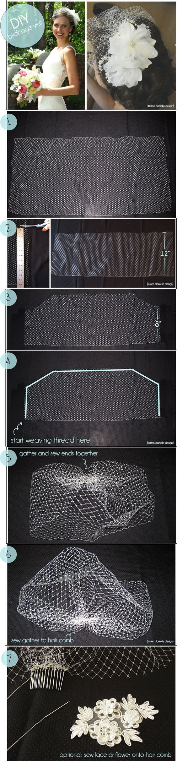 DIY birdcage veil with easy to follow instructions: