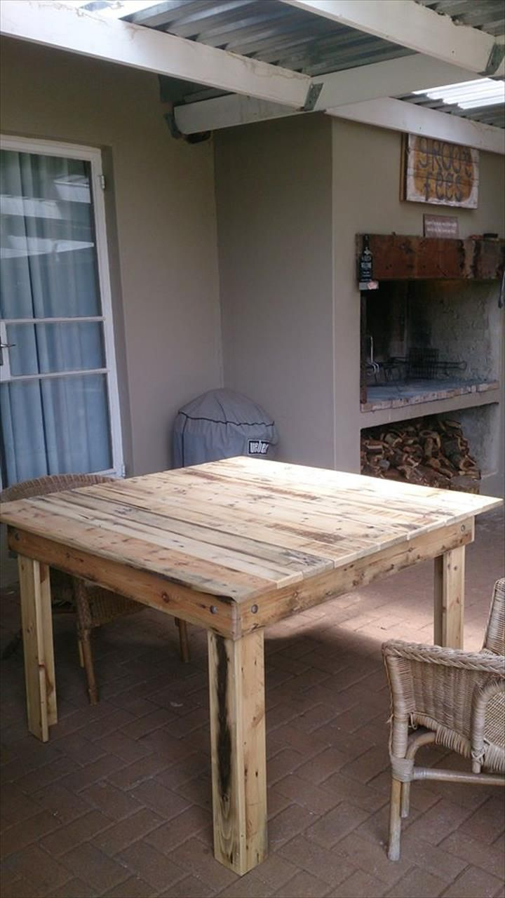 Square Coffee Table Out of Pallets   Pallet Furniture DIY