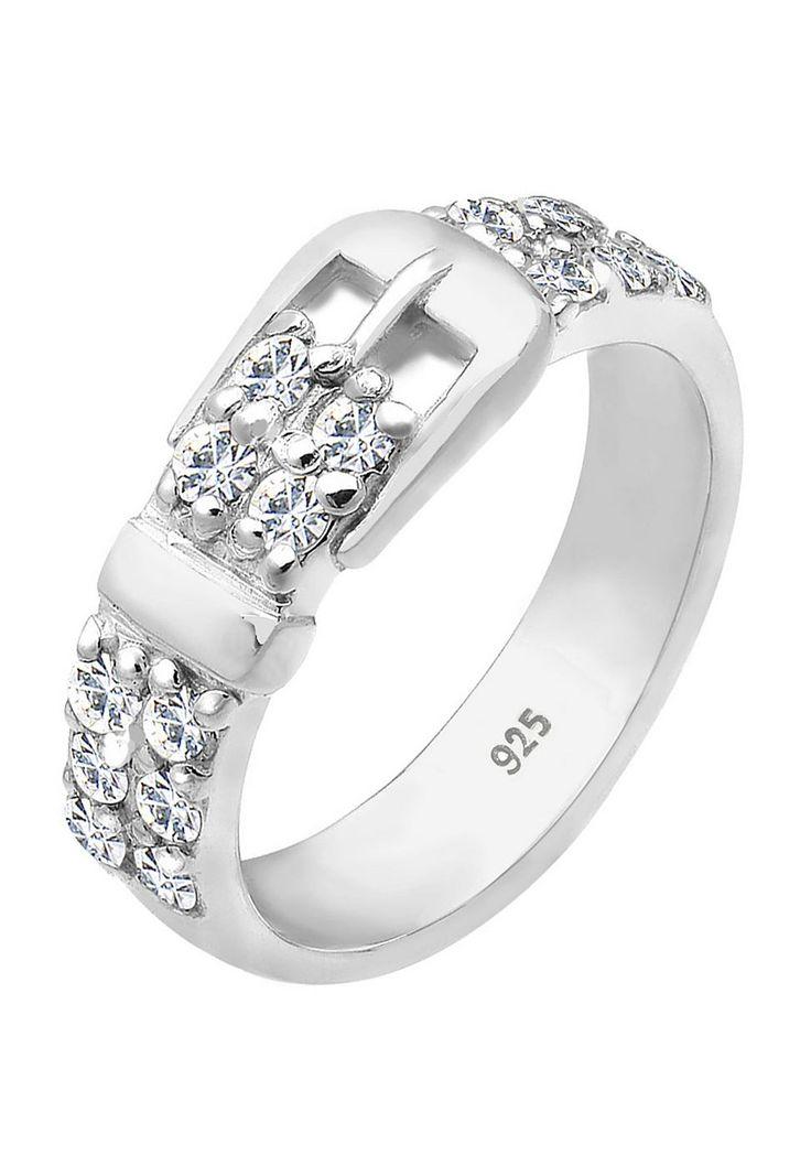 """Funkelnder Ring aus feinem 925er Sterling Silber in ausgefallenem Gürtel Look. Gürtel besetzt mit 16 Kristallen von Swarovski (2mm) in CRYSTAL, einem schönen Weiß. Hochglanzpoliert und in sehr hochwertiger Juweliersqualität gearbeitet.  Weitere Hilfe zur Ringgröße:  Angegebene Größe in mm entspricht """"Ring Innen-Umfang"""", Umrechnung in """"Ring Durchmesser Ø"""" wie folgt:  52mm Umfang = 16,5mm Ø 54mm ..."""