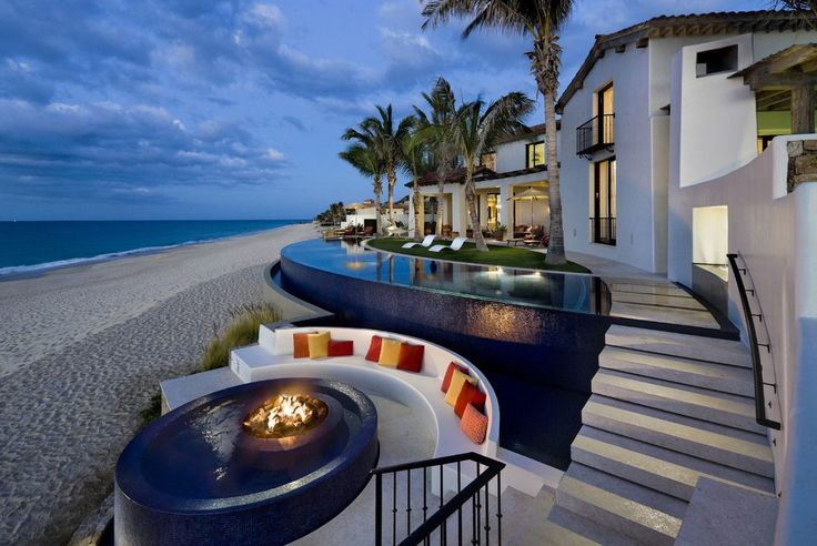 Beach fire pit ideas pool tropical with hot tub hot tub infinity pool