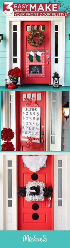 Welcome holiday guests with festive door décor. You can make these fun and whimsical decorations in just a few simple steps. For more inpsiration and ideas, visit http://Michaels.com