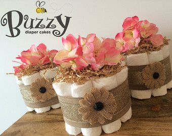 2 Tier Burlap Diaper Cake, Baby Girl Diaper Cake, Rustic Baby Shower,Country  Baby Shower,Burlap Baby Shower, Baby Girl Shower, Diaper Cakes
