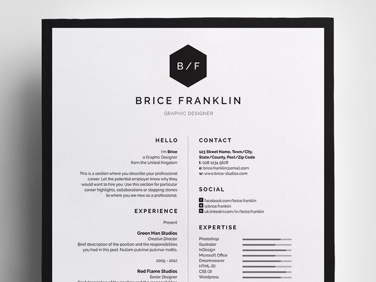 Resume/CV - 'Brice' - a simple, vertical design which includes Resume/CV and Cover Letter easy to edit templates. Modern, Monochrome theme.