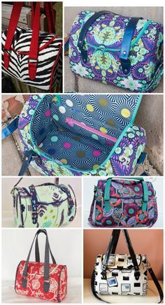 Bag sewing pattern in 3 different sizes. I love this bowling-style bag. Great shape, strap options, not fussy but perfect for great fabrics. Highly recommend this bag pattern.