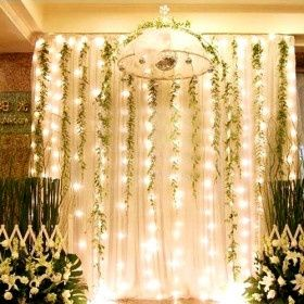 tool and twinkle lights | Hanging fabric and vines with twinkle lights ... | Down the Aisle,...