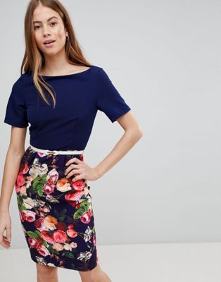 Paperdolls Floral Pencil Skirt Dress