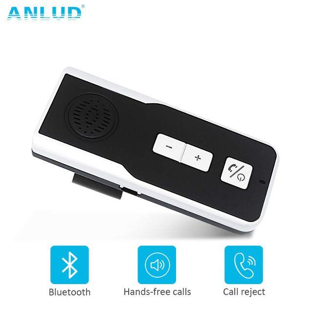 Top Sale $6.05, Buy ANLUD Bluetooth Handsfree Car Kit Wireless Speakerphone Sun Visor Clip Bluetooth Car Kit Handsfree Speaker Phone for Smartphone