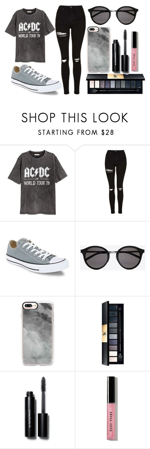 """""""Gray"""" by thisisalle on Polyvore featuring H&M, Topshop, Converse, Yves Saint Laurent, Casetify and Bobbi Brown Cosmetics"""