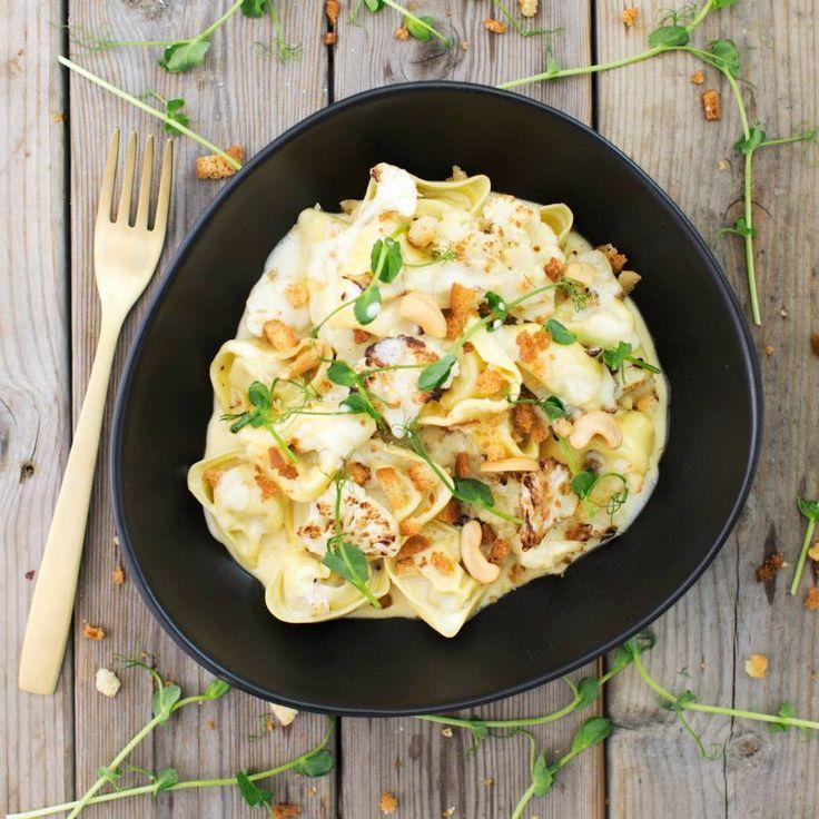 Färsk pasta med karljohansvamp, råstekt blomkål och cashewnötter! #hälsosam #mat