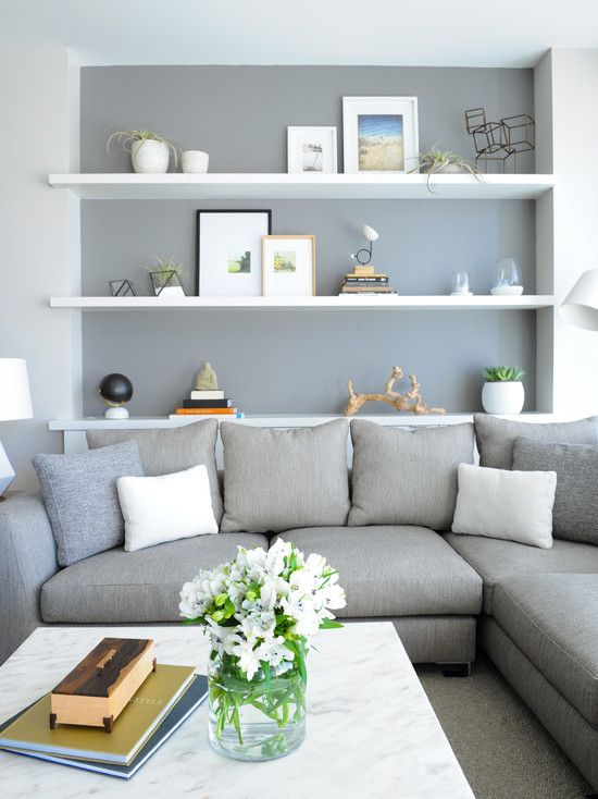 Loce the shelves behind the couch. Living Room Decor Picture