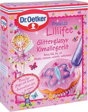 Prinsessan Lillifee Glitterglasyr. Lillifee Glitterglasyr är en alldeles förtrollande glittrande gelé, perfekt till kakor, tårtor, ja allt man kan önska sig. Varje förpackning innehåller fyra tuber i rosa, lila, blått och vitt. Färgerna kommer alla från naturen.