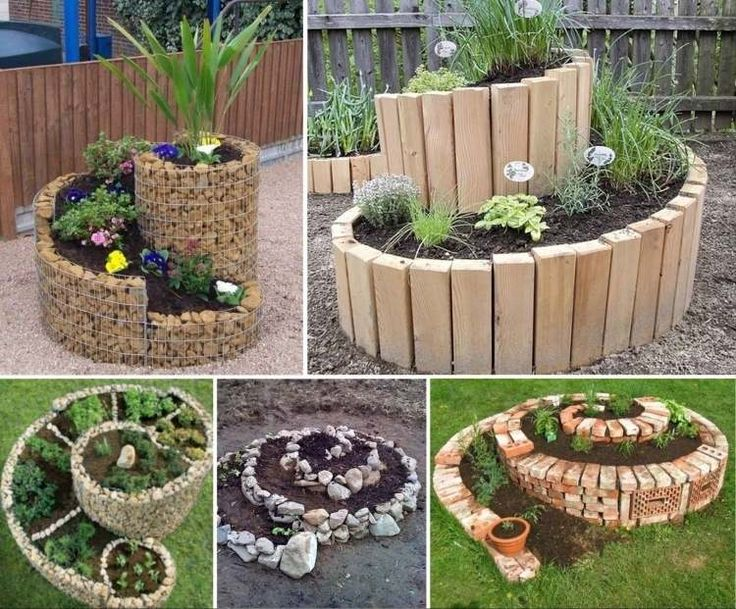 Raised bed in spiral shape made of different materials