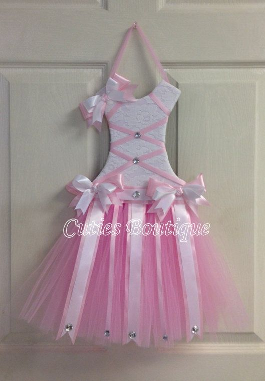 Tutu Dress Hair Bow Holder Baby Pink Perfect por CutiesBoutique