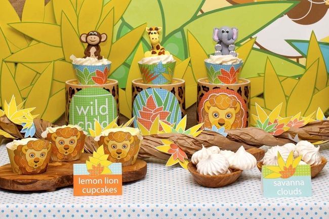 Jungle Themed Lion Birthday Dessert Table | Spaceships and Laser Beams