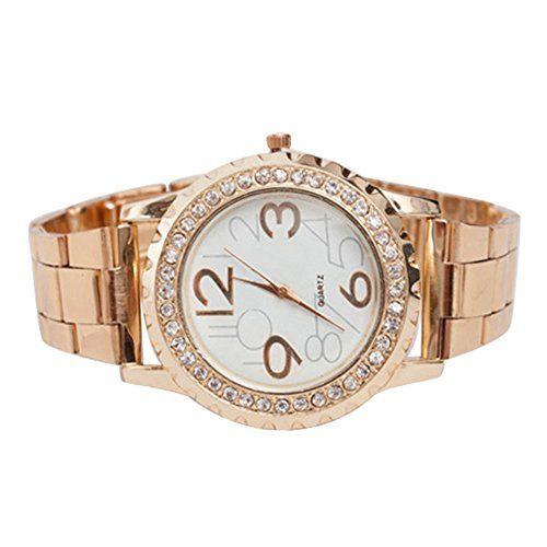 Frauen Damen Uhr Crystal Strass Edelstahl Armband Quarz Analog Armbanduhr (Rose Gold)