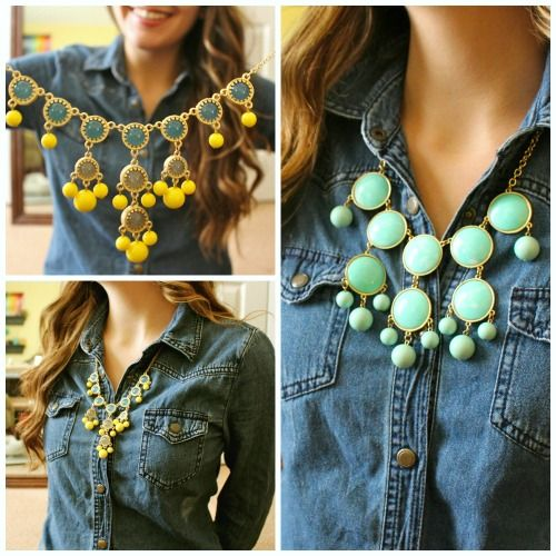 Denim shirt and statement necklace