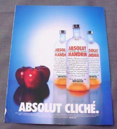 Magazine Ad for Absolut Cliche, 2001, Absolut Mandarin