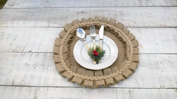 Christmas Burlap Placemats  Round Tablemats  by AJRUSTICCREATIONS