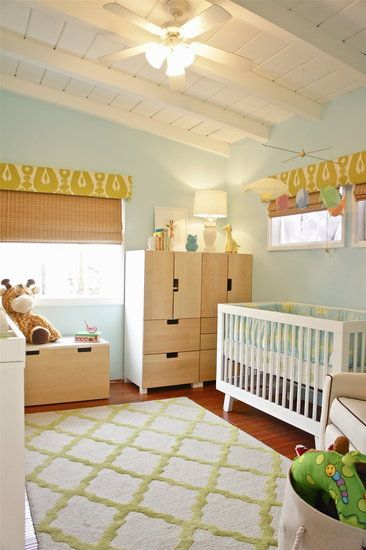 Playful Blue-and-Green Baby Boy Nursery - I could incorporate the same colors for an awesome toddler room!