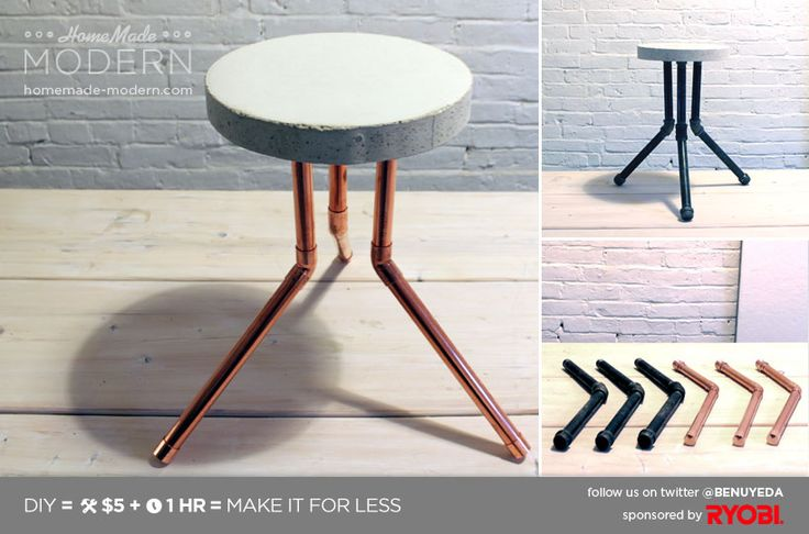 Maybe with different legs to look more like hairpin legs. Would look great with a stained piece of wood too! Might have to make this for my very very bare livingroom!  HomeMade Modern DIY EP8.1 Cake Pan Stool Postcard