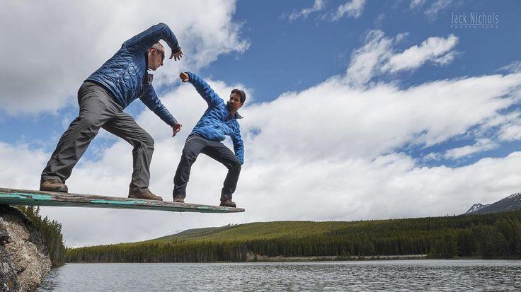 """Hadoooooooken""  @paulzizkaphoto and I engaged in an epic battle on the diving board at Herbert Lake. Amazingly nobody fell in!  #herbert #fight #streetfighter #hadooooken #banff #banffnationalpark #alberta #travelalberta #parkscanada #ohcanada #canada #imagesofcanada #wildlycreative #mybanff #canadianrockies #rockies"