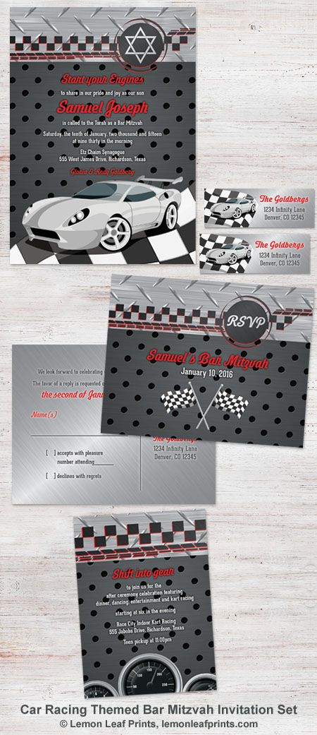 Car racing race car themed Bar Mitzvah invitation set. Great for a Nascar, go-cart, or car racing themed Bar Mitzvah party.   Get ti here: http://lemonleafprints.com/car-racing-racecar-bar-mitzvah-invitation-black-grey-red.html