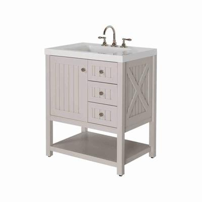 martha stewart living seal harbor 30 inch vanity in sharkey gray with vanity top in alpine white home depot canada