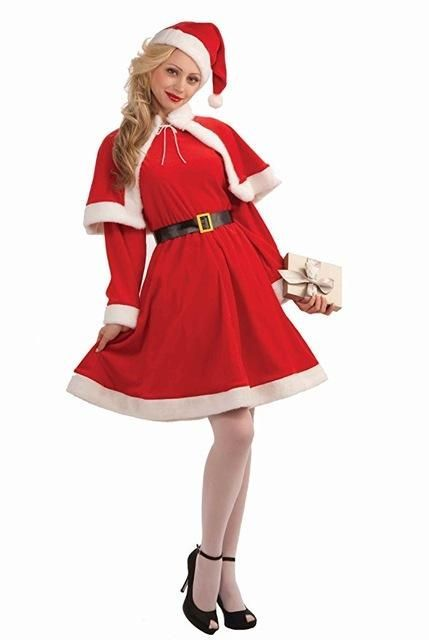 Cheap Christmas Costume For Adult Christmas Cosplay Hat Dress Belt Suit Women Christmas Dress Sweet Miss Santa Costume 2017