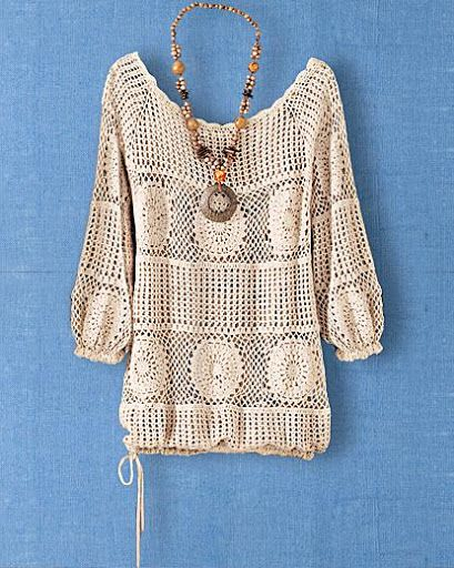 Crochet blouse with chart pattern