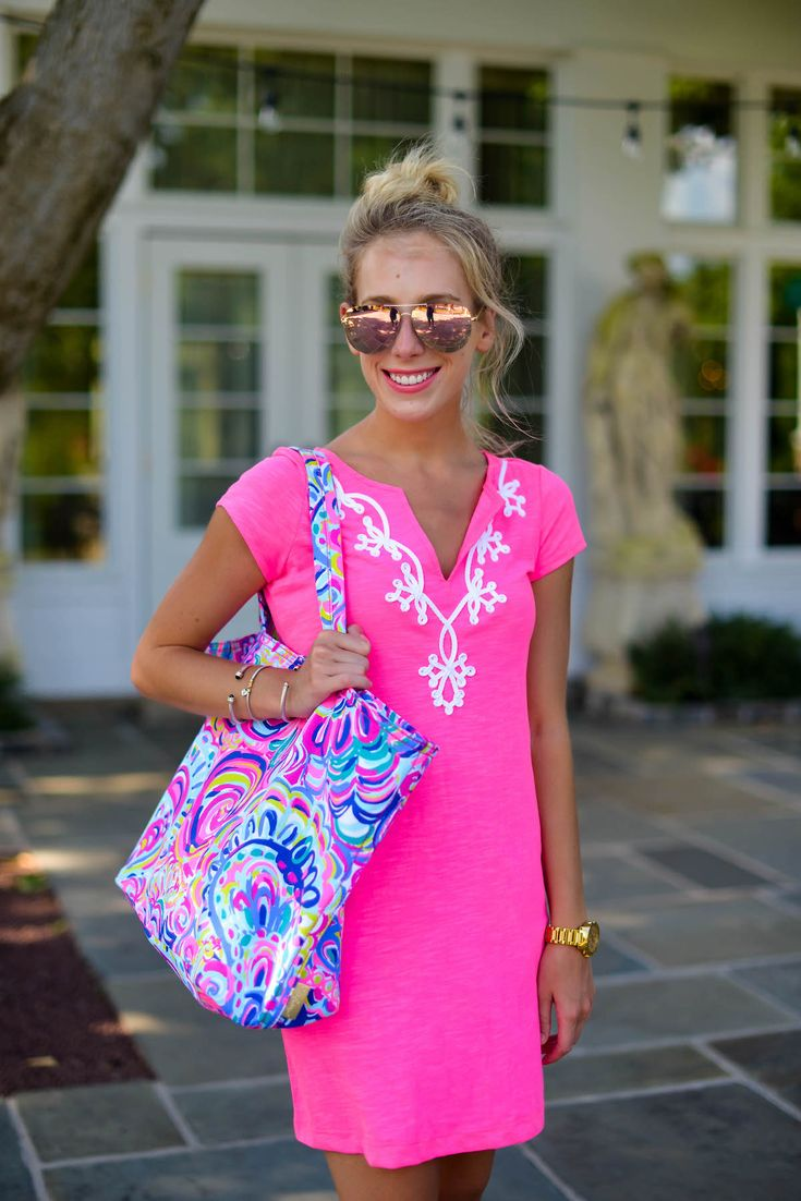 Casual Outfit Inspiration: Lilly Pulitzer Pink T-Shirt Dress via @katiesbliss