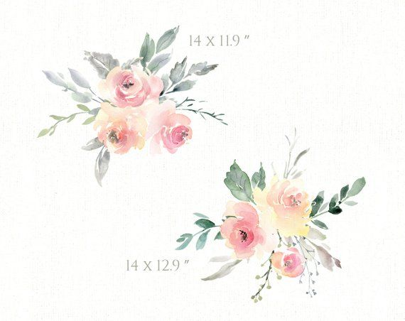 Watercolor Floral Clipart Wedding Free Commercial Use Pink Light