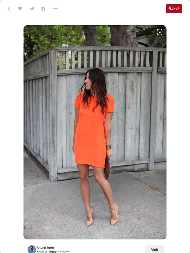 Bold orange short sleeved dress. Date night. Girls night. Nude pump. Spring 2016 Stitch Fix