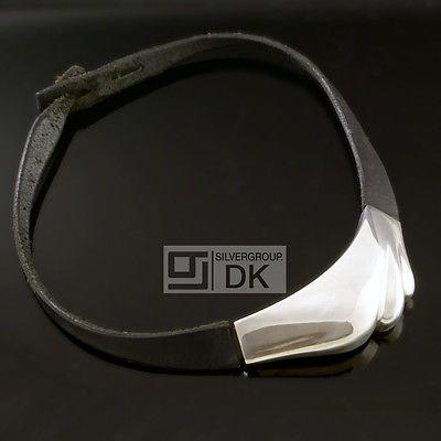 Silver Necklace w/ Leather - Lapponia, Björn Weckström - VINTAGE 1985