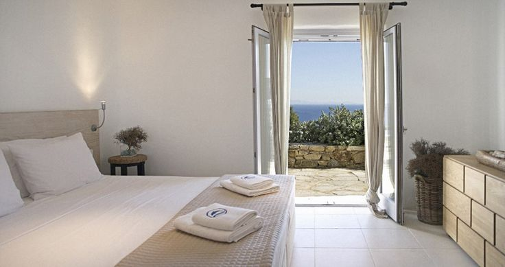 "Another bedroom, even maybe yours during your vacation in our ""Villa Aurora"" - Mykonos, Greece. You can rent it ! #luxury #villa #rent #holidays #greece #vacances #grece #alouer #aroomwithaview #decoration #bedroom #bathroom"