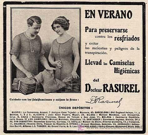 PUBLICIDAD ANUNCIO DE CAMISETAS DEL DR. RASUREL.  AÑO 1912