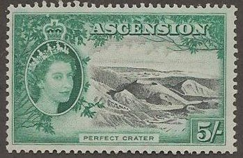This Ascension stamp (Scott #77) is the second most valuable stamp in the set and also has the second highest denomination in the set.    This follows a great rule of thumb - stamp collecting values are generally higher for the highest denominated stamps.  Especially for older stamps where high-denomination stamps were produced in greatly reduced numbers.