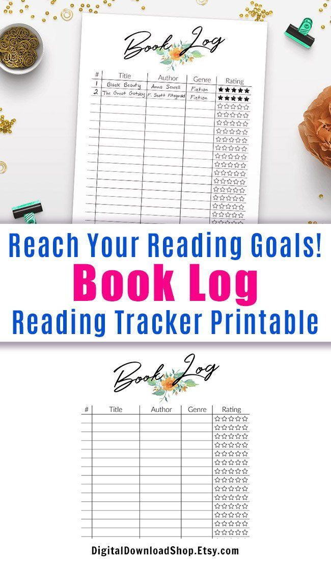 Reading Tracker Printable, Book Log Printable, Book